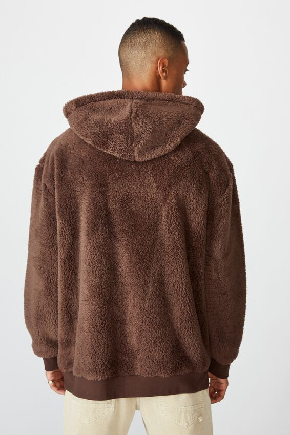 Drop Shoulder Teddy Fleece Hood, CHOCOLATE BROWN