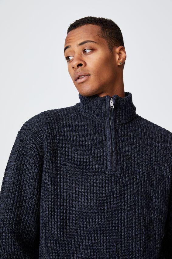Quarter Zip Knit, DENIM MARLE