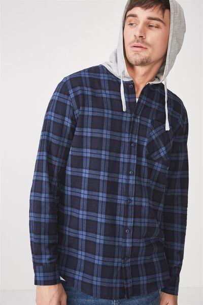 Rugged Hooded Shirt, NAVY CHECK