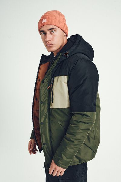 Premium Hooded Puffer Jacket, KHAKI