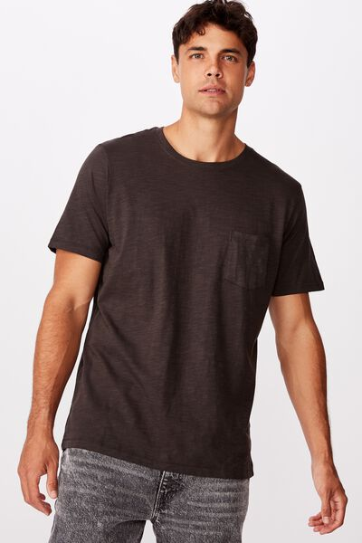 Slub Crew Neck Tee, WASHED BLACK