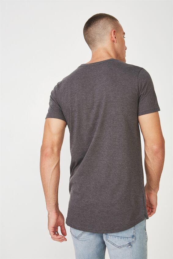 Essential Longline Scoop T-Shirt, CHARCOAL MARLE