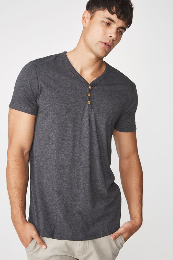 Essential Henley, CHARCOAL MARLE