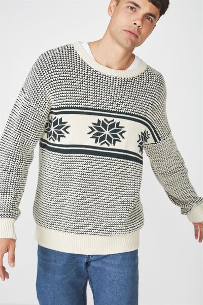 Oversized Crew Knit, GREEN FAIR ISLES