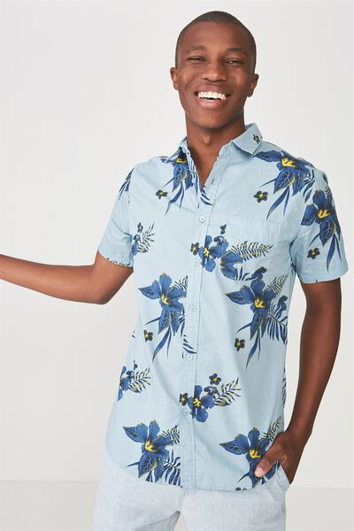 Vintage Prep Short Sleeve Shirt, BLUE LAGOON