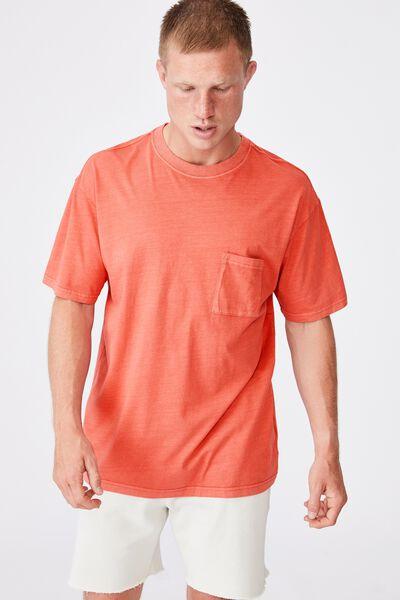 Washed Pocket T-Shirt, BURNT RED