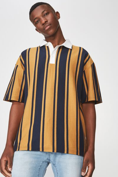 Oversized Short Sleeve Polo, NAVY MUSTARD