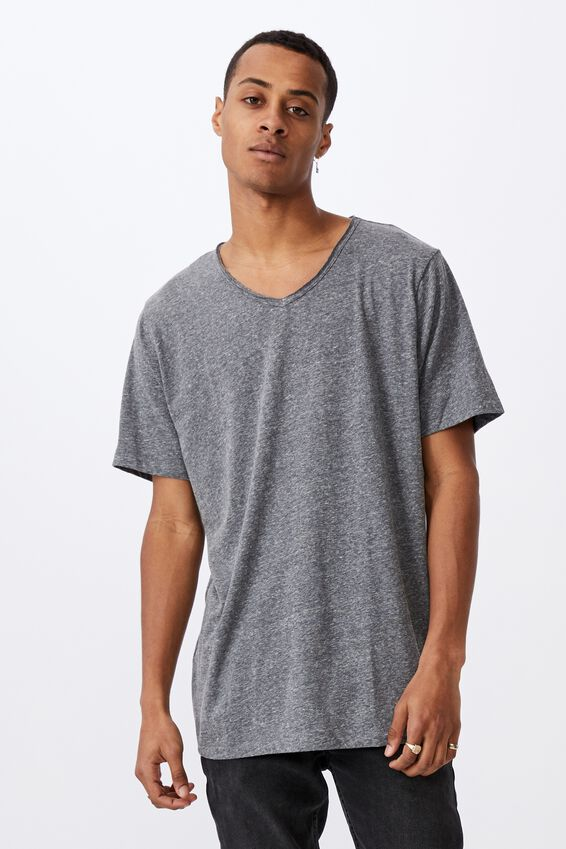 Slub V Neck Tee, MID GREY TWIST