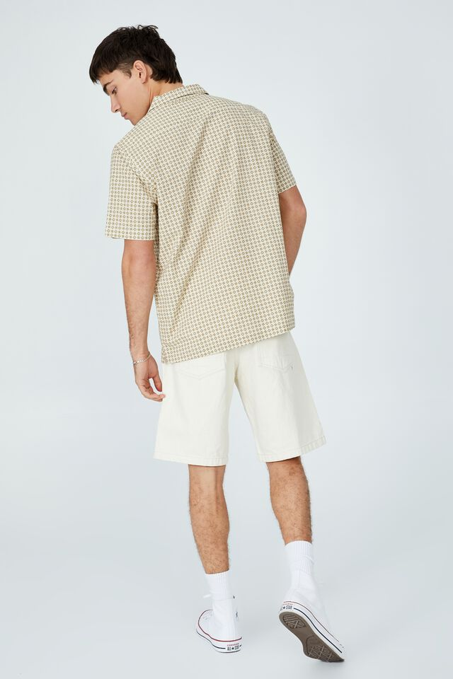 Riviera Short Sleeve Shirt, ECRU 70 S MICRO