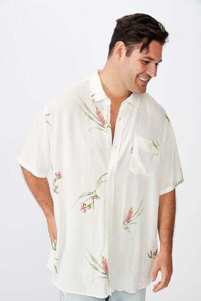 Bg Short Sleeve Resort Shirt, VINTAGE WHITE FLORAL
