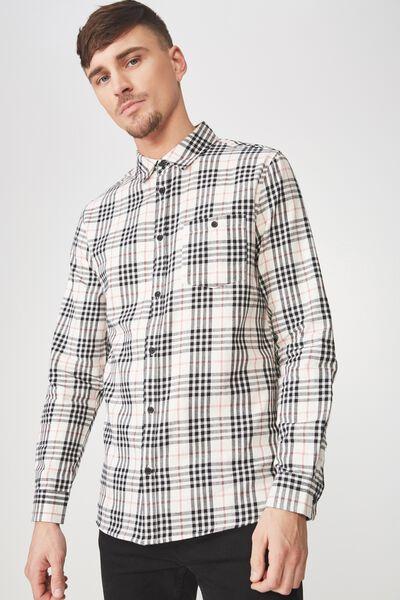 Long Sleeve Rugged Light Shirt, WHITE BLACK CHECK
