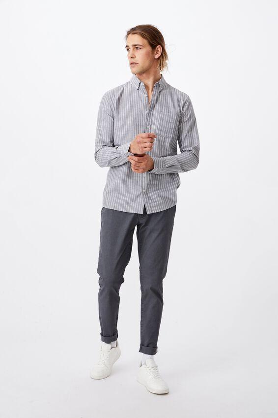 Brunswick Shirt 3, CHARCOAL WHITE STRIPE