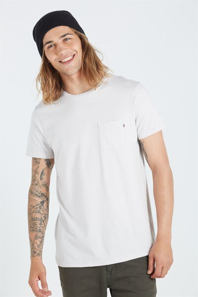 The Staple Tee, WASHED WHITE/STRIPE BRONX