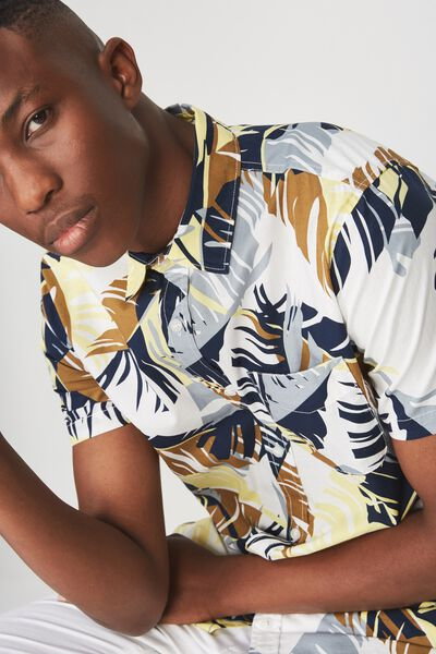 Short Sleeve Resort Shirt, NATURAL FLORAL