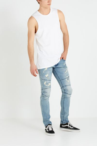 Slim Fit Jean, BIKER PATCHED BLUES