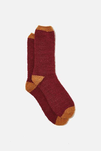Fluffy Bed Sock, OXBLOOD/CAMEL CONTRAST