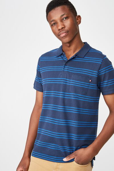 Icon Polo, NAVY BLUE TRI STRIPE
