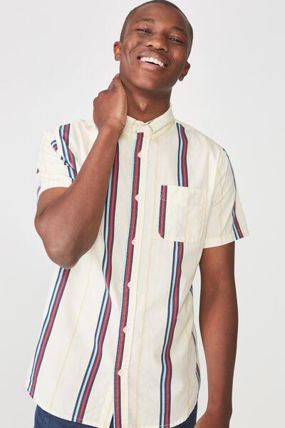 Vintage Prep Short Sleeve Shirt, NATURAL MULTI STRIPE