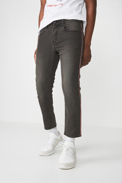 Slim Fit Jean, PEPPER BLACK SIDE STRIPE