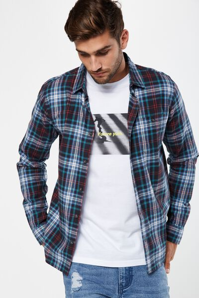 Rugged Long Sleeve Shirt, CHARCOAL TEAL CHECK