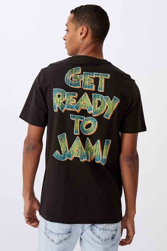 Tbar Collab Movie And Tv T-Shirt, LCN WB VINTAGE BLACK/SPACE JAM-GET READY TO J