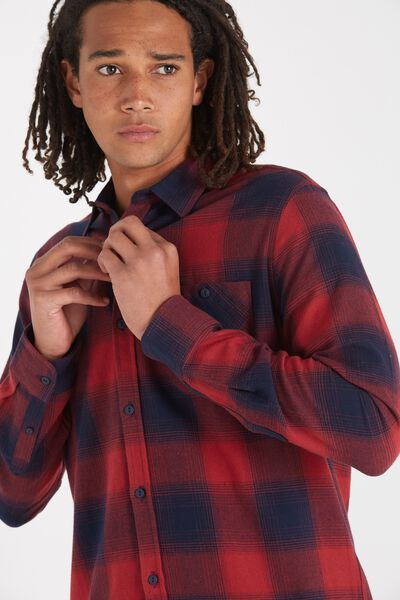Rugged Long Sleeve Shirt, RED/NAVY CHECK