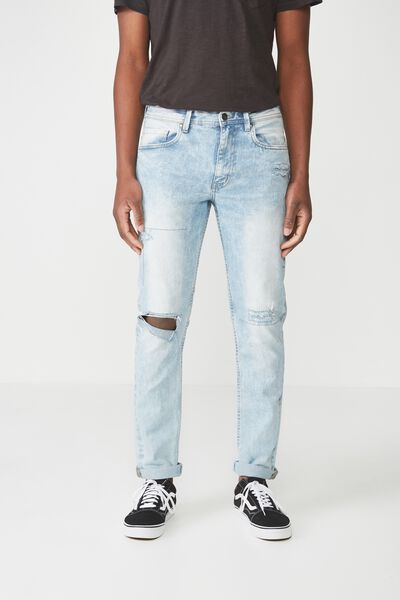 Tapered Leg Jean, WHITE WASHED BLUE BLOWOUT + REPAIR