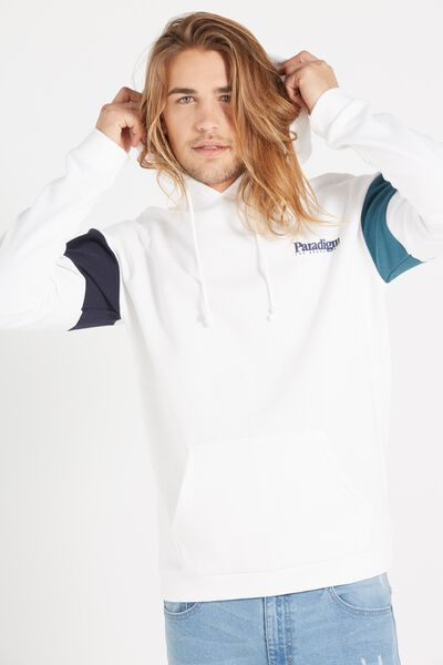 Drop Shoulder Pullover Fleece, WHITE/TRUE NAVY/PETROL BLUE/PARADIGM