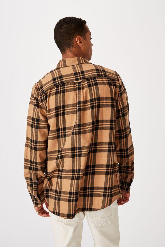 Washed Long Sleeve Check Shirt, TAN CHECK