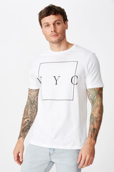 Tbar Text T-Shirt, WHITE/NYC BOXED
