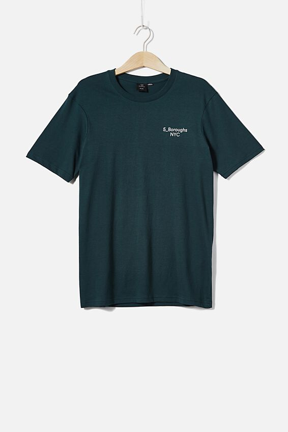Tbar Text T-Shirt, DEEP SEA TEAL/5 BOROUGHS CHEST