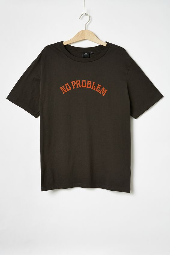 Tbar Text T-Shirt, SK8 WASHED BLACK/NO PROBLEM