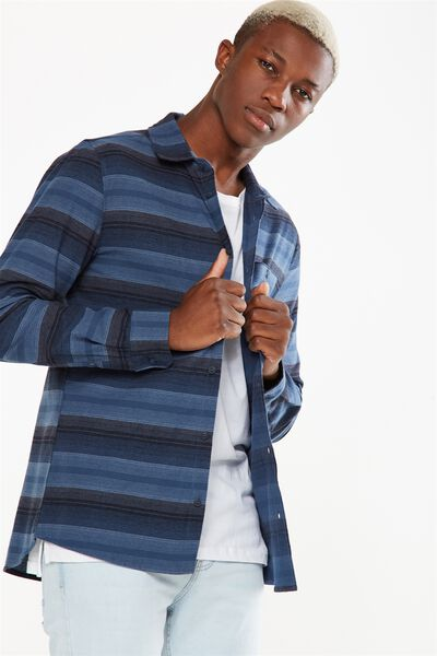 Rugged Long Sleeve Shirt, INDIGO STRIPE