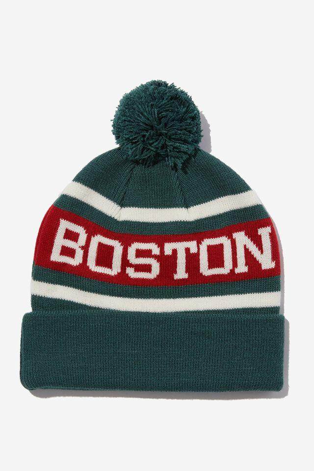 Pom Pom Skate Beanie, GREEN/RED BOSTON
