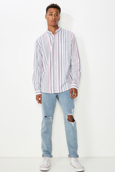 Brunswick Shirt 3, WHITE BOLD MULTI STRIPE
