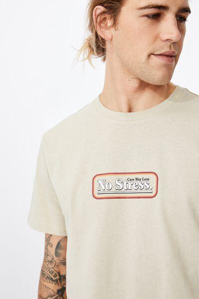 Tbar Text T-Shirt, PALE SAND/NO STRESS