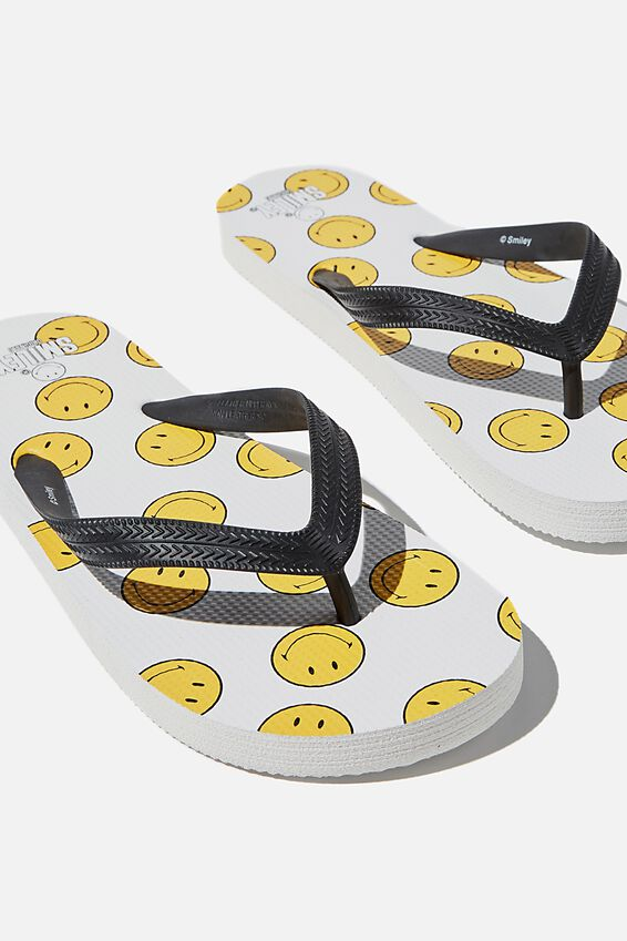 Bondi Flip Flop, LCN SMI SMILEY/LOGO/WHITE/BLACK