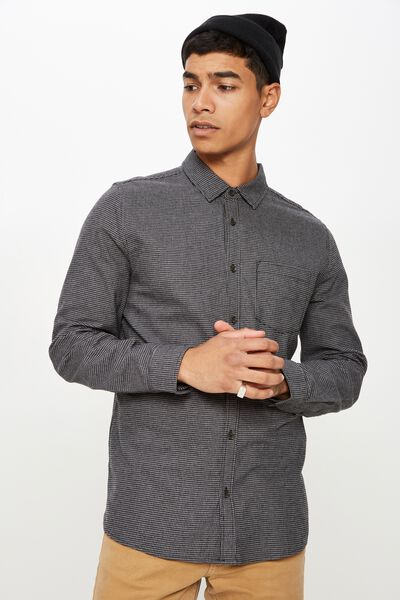 Rugged Long Sleeve Shirt, BLACK GREY HOUNDSTOOTH