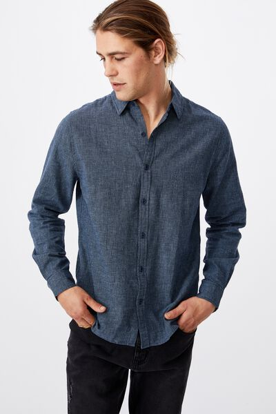 Linen Cotton Long Sleeve Shirt, INDIGO