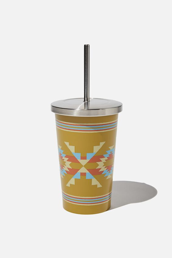 Metal Smoothie Cup 500Ml, GOLD IKAT