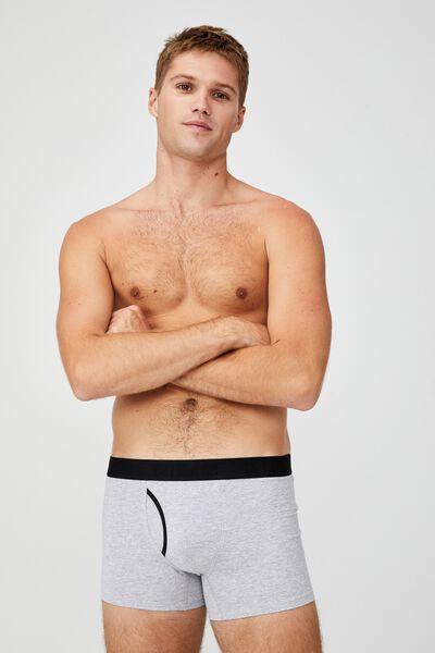 Mens Organic Cotton Trunks, GREY MARLE/BLACK