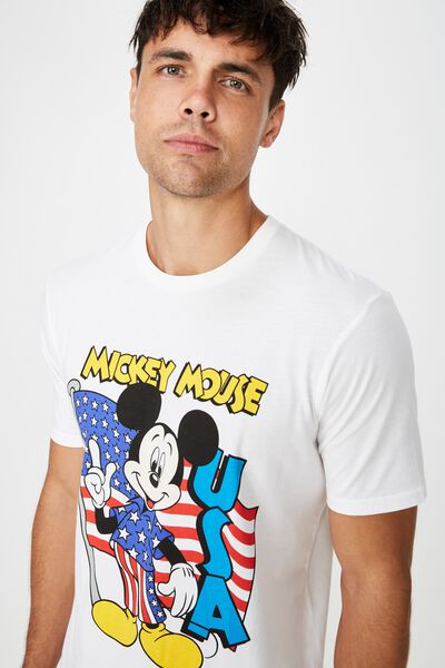 566a6944 Tbar Collab Character T-Shirt, LCN DIS WHITE/MICKEY FLAG. Cotton On Men