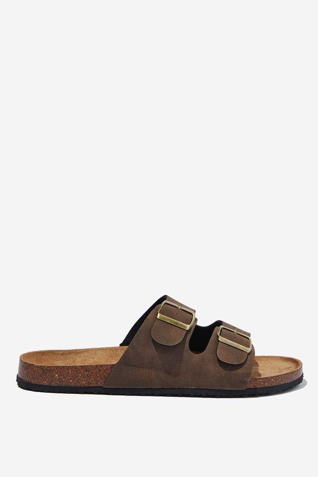 Double Buckle Sandal, DARK CHOCOLATE/TEXTURE