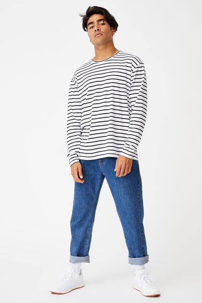 Brunswick Stripe Long Sleeve T-Shirt, WHITE/BLACK BOLD SPACED STRIPE