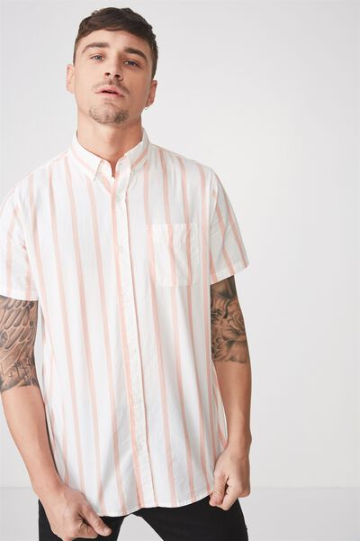 Vintage Prep Short Sleeve Shirt, WHITE APRICOT STRIPE