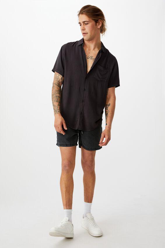 Cuban Short Sleeve Shirt, WASHED BLACK