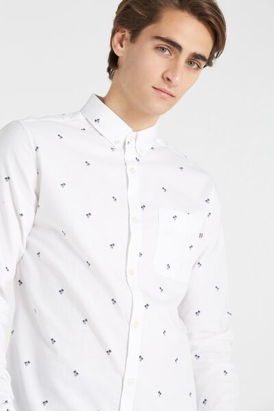 Brunswick Shirt 3, WHITE OXFORD DITSY PRINT