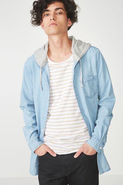 Rugged Hooded Shirt, DENIM
