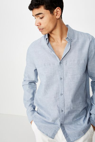Premium Linen Cotton Long Sleeve Shirt, MID BLUE WHITE