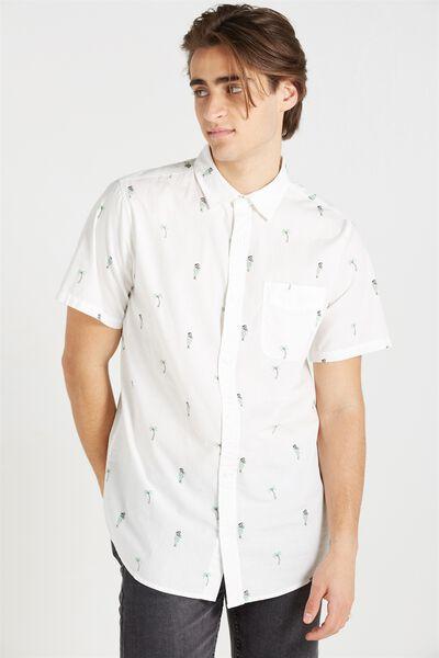 Vintage Prep Short Sleeve Shirt, WHITE HULA PRINT